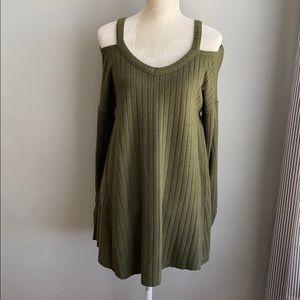 Umgee Olive Green Cold Shoulder Sweater